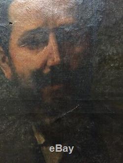 Tableau ancien Impressioniste 19ème Portrait Homme A RESTAURER gout Pablo Ruiz