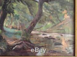 Tableau ancien Impressionniste BERLIOZ Mentor de Jules Louis RAME Paysage Huile