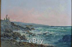 Tableau ancien Impressionniste Bord de mer Côte Rocheuse marine Normandie 19e
