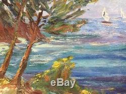 Tableau ancien Impressionniste Marine Baie d'Agay Huile toile goût René SEYSSAUD
