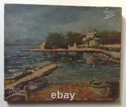 Tableau ancien Impressionniste Marine Juan les Pins Huile Toile signé Daté 1920
