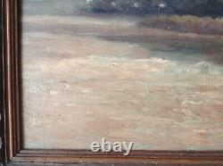 Tableau ancien Impressionniste Paysage Bord d'un Lac Huile signée Harvey c1908
