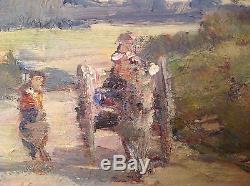 Tableau ancien Impressionniste signé Henri PERROT Huile Charette Chemin Provence