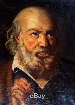 Tableau ancien Italie superbe portrait d'homme italien à la barbe en prière