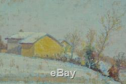 Tableau ancien Jean Drevon Peintre Dauphinais Paysage Neige ensoleillée Lyon HST