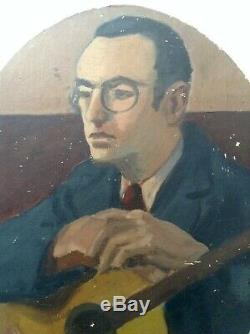 Tableau ancien Jean PUY (1876-1960) Portrait Homme à la Guitare Huile signée
