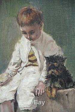 Tableau ancien Jeune garçon Enfant Poules Chien L. Chatelain 1910