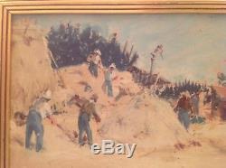 Tableau ancien Joseph MILON (1863-1947) Provence Le battage du blé huile signée