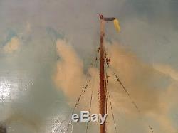 Tableau ancien Joseph TILLEUX (1896-1978) Huile Marine Port Zeebruges Remorqueur
