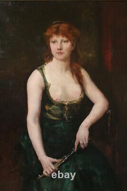 Tableau ancien Juana Romani Henner Carolus Duran Falguière rousse Médée portrait