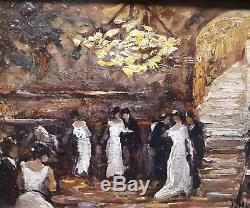 Tableau ancien Le bal 1907 Joseph Hurard Arlesienne Avignon Ecole Provençale