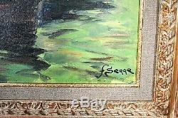 Tableau ancien Les Martigues bord de mer pêcheurs signé Fernand Serre (1885-)