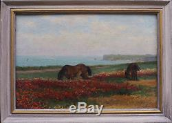 Tableau ancien Les chevaux en bord de mer Normandie Criquebeuf en Caux Signé