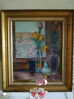 Tableau ancien Louis Valtat vases tulipes