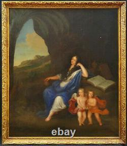 Tableau ancien Madame de Montespan et ses enfants Ecole française du XVIIe