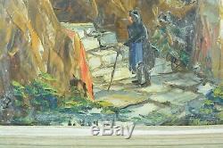 Tableau ancien Marine Agay Var chemin Provence Oratoire Le Vigon Guillaumin