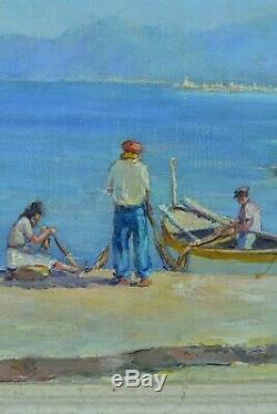 Tableau ancien Marine Provence Gaston Corbier nettoyage des filets Pêche Nice