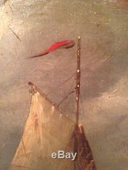 Tableau ancien Marine XIXeme Huile sur Toile Signée seascape 19th