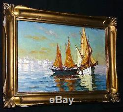 Tableau ancien Marine d'Henri FONTAINE (1887-) Voiles à Saint Raphael + cadre