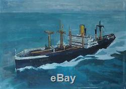 Tableau ancien Marine marchande Cargo Louis Sheid disparu en 1939 signé Rolher
