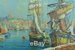 Tableau ancien Marine vieux port de Marseille Animé marché Oranges M. Barle HST
