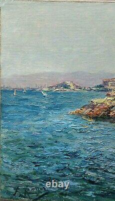 Tableau ancien Marseille corniche, Vallon des Auffes le petit Nice OLIVE GAUSSIN