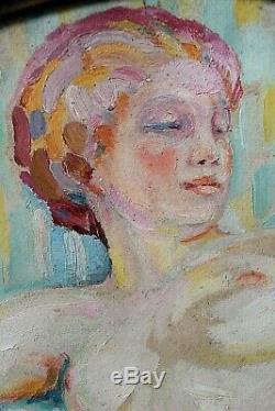 Tableau ancien Médaillon Nu féminin Robert Lefort des Ylousses Impressionnisme