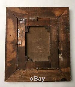 Tableau ancien, Monogramme, Huile sur toile, Encadré, Pêcheuse au filet, XIXe