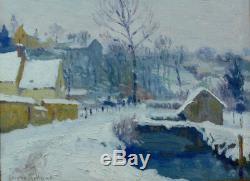 Tableau ancien Musée Rouen Normandie Village neige Léonce Rolland Impressionnist