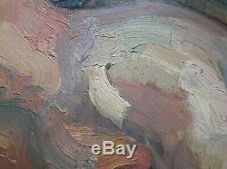 Tableau ancien NU fauve RECLINING NUDE FRENCH fauvist signé illisible dlg KUPKA