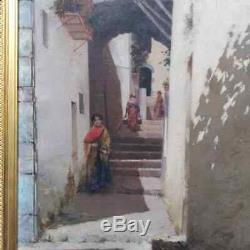 Tableau, ancien, Naples, école italienne, femme à l'éventail, Galeota Leopoldo