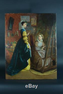 Tableau ancien Napoléon3 Portrait Femme Peintre Atelier Modèle Louis Willems 19e