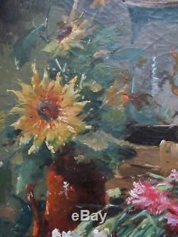 Tableau ancien Nature Morte ancienne Huile Toile Fleurs Bouquet dillets XIXe