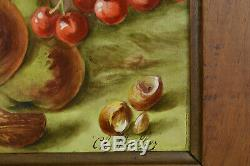 Tableau ancien Nature morte Grande plaque limoges Porcelaine Grenade Cerises19e