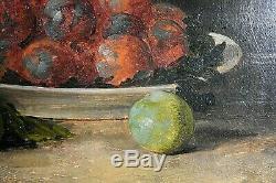 Tableau ancien Nature morte aux mirabelles prunes fruits signé Rietuar XXe