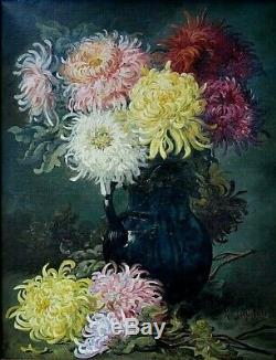 Tableau ancien Nature morte fleurs Chrysanthèmes signé Marius Jognarelli XIXème