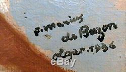 Tableau ancien Nu Orientaliste Alger HST signé F. Marius De Buzon 1936