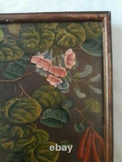 Tableau ancien OISEAUX et FLEURS jungle animalier botanique art naif Rousseau