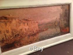 Tableau ancien OLIVE DES MARTIGUES (1868-1925) Martigues Huile impressionniste