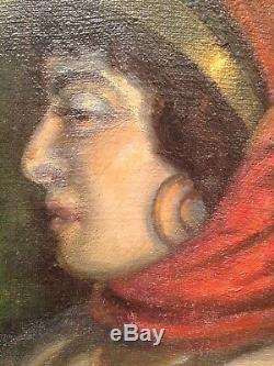Tableau ancien Orientaliste 19eme Portrait de Femme à Marrakech signé c1895