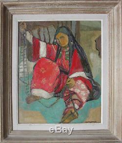 Tableau ancien Orientaliste Femme à la tapisserie signé R. A. Morma + cadre