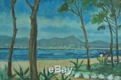 Tableau ancien Orientaliste Pierre Gessier Bord de mer 1958 Alsace el. Matisse