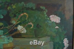Tableau ancien Orientaliste Vue de Jardin Fleurs Alger 1943 signé A. Casabonne