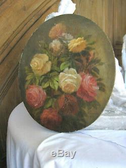 Tableau ancien Ovale Bouquet de Roses Fleurs Huile sur Toile Signé daté XIXe