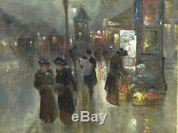 Tableau ancien PARIS rue animée nocturne, belle époque, calèche, lampadaire Signé