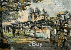 Tableau ancien Paris les quai de la Seine Notre-Dame signé Julien Brosius XXème