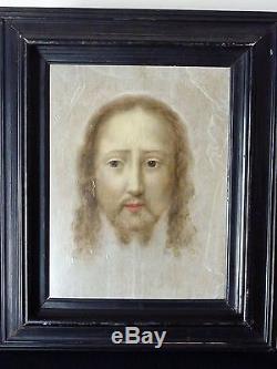 Tableau ancien Paulus Du Boys. Christ, Sainte Face. Huile sur bois. 17ème