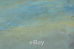 Tableau ancien Paysage Bord de Mer Ciel Arcachon Cap-Ferret 19e Gaston Guignard