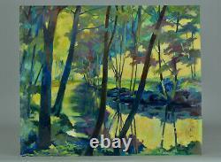 Tableau ancien Paysage Fauve bord de rivière arboré signé Fauvisme Mauve Poels