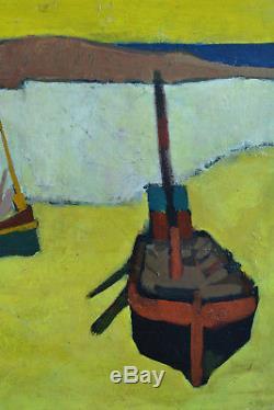 Tableau ancien Paysage Marine synthétique Bateau au port signé claude Aliotti